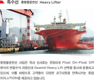 중량물운반선 사업은 국내 선사로는 유일하게 Float On–Float Off 방식의 반잠수식 자항선과 Geared Heavy Lift 선박을 동시에 운용하고 있으며, 이를 바탕으로 고객들의 다양한 요구사항을 만족시키는 통합 SOLUTION을 제공하고 있습니다.